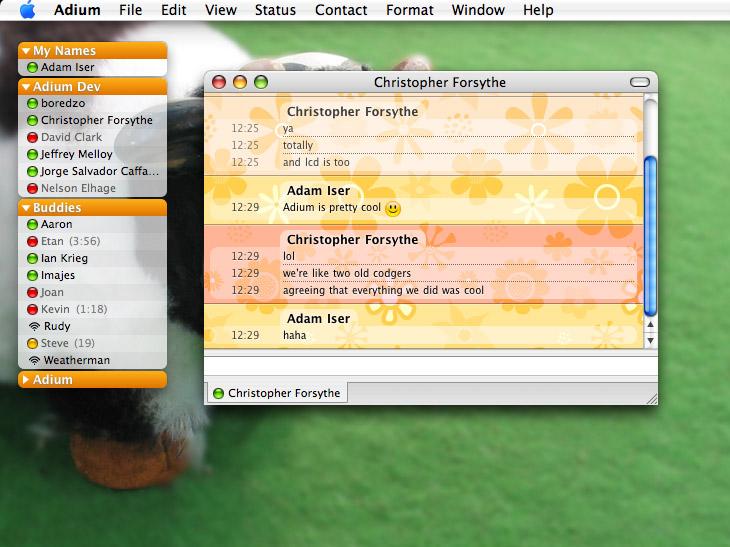 Adium 1.3.8 for Mac OS للمحادثة بالمراسلة يدعم أغلب الايملات المشهورة